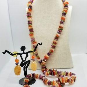 Natural Freeform Gemstone Chips Beads necklace